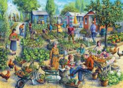Green Street Gardens Chickens & Roosters Jigsaw Puzzle