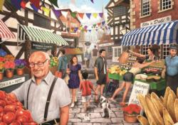 Market Day Small Town Jigsaw Puzzle
