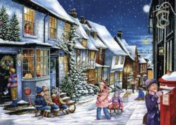 Playing In The Snow Night Jigsaw Puzzle