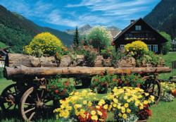 Alpine Flowers Cottage / Cabin Jigsaw Puzzle