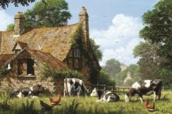 Cows at a Farm Cottage/Cabin Jigsaw Puzzle