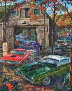 Cars on the Farm Nostalgic / Retro Jigsaw Puzzle