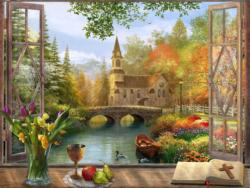 Autumn Church Frame Churches Jigsaw Puzzle