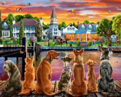 Dockside Dogs Sunrise / Sunset Jigsaw Puzzle
