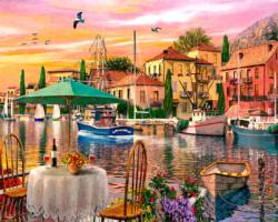 Sunset Harbour Romantic Setting Jigsaw Puzzle
