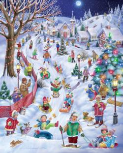 Sledding Hill Winter Jigsaw Puzzle