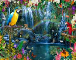 Tropical Paradise Waterfalls Jigsaw Puzzle