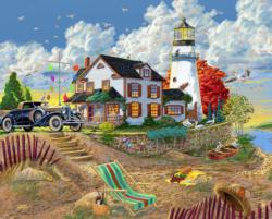 Lighthouse Visitors Seascape / Coastal Living Jigsaw Puzzle