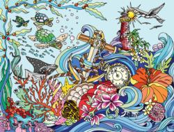 Ocean View Color Your Own Jigsaw Puzzle Marine Life Coloring Puzzle