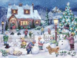Snowman Celebration Snow Jigsaw Puzzle