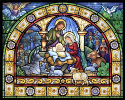 Stained Glass Holy Night Christmas Jigsaw Puzzle