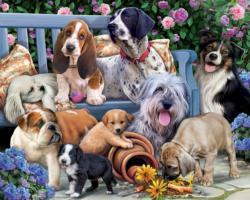 Dogs on a Bench Collage Jigsaw Puzzle