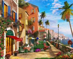Mediterranean Terrace Seascape / Coastal Living Jigsaw Puzzle
