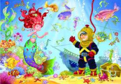 Mermaid & Diver Children's Jigsaw Puzzle Mermaids Children's Puzzles
