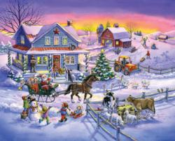 Countryside Christmas Cows Jigsaw Puzzle