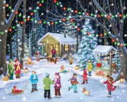 Woodland Skaters Snow Jigsaw Puzzle