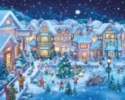 Holiday Village Square Snow Jigsaw Puzzle