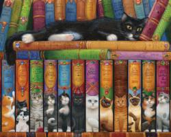 Cat Bookshelf Library / Literary Jigsaw Puzzle