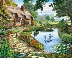 Lakeside Cottage Spring Jigsaw Puzzle