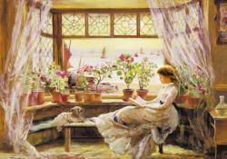 The Girl Reads A Book Domestic Scene Jigsaw Puzzle