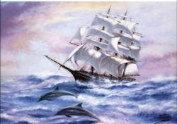 Full Wind Sailing Ship Seascape / Coastal Living Jigsaw Puzzle