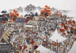 Traditional Market Asian Art Jigsaw Puzzle