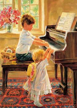 Brother And Sister Who Play The Piano Domestic Scene Jigsaw Puzzle