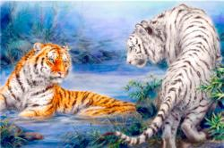 Tan-Yellow Tigers Meet Tigers Jigsaw Puzzle