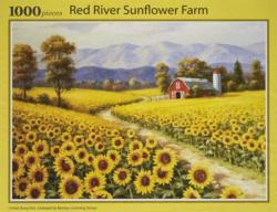 Red River Sunflower Farm Sunflower Jigsaw Puzzle