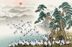 White Cranes Asian Art Jigsaw Puzzle