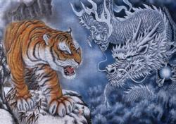 Black Dragon Beast Asian Art Jigsaw Puzzle