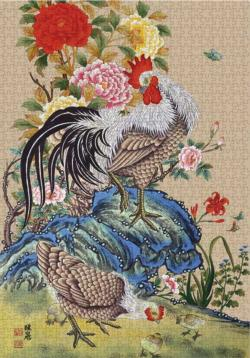 A Peony And Rooster Chickens & Roosters Jigsaw Puzzle