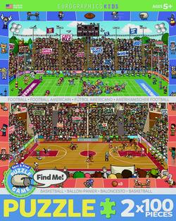 Spot & Find 2 Pack - Football  & Basketball Sports Jigsaw Puzzle
