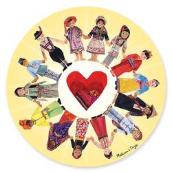 Circle of Friends People Round Jigsaw Puzzle