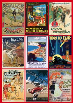 Vintage Transport Posters Collage Jigsaw Puzzle
