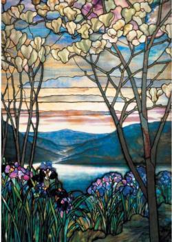 Tiffany Magnolias & Irises Lakes / Rivers / Streams Jigsaw Puzzle