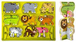 Stacking Chunky Puzzle - Safari Jungle Animals Wooden Jigsaw Puzzle