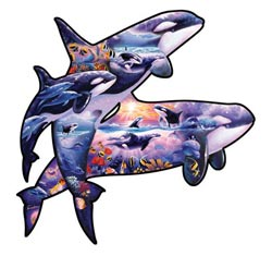 Orcas at Play Sunrise/Sunset Jigsaw Puzzle