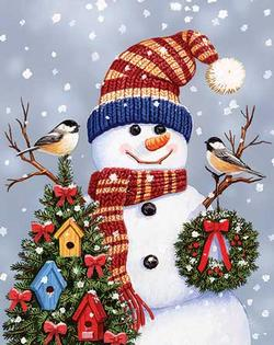 Snowman & Chickadees Christmas Jigsaw Puzzle