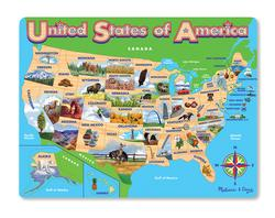 USA Map Jigsaw Puzzle Maps / Geography Wooden Jigsaw Puzzle