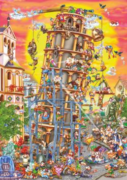 Leaning Tower Cartoon Jigsaw Puzzle