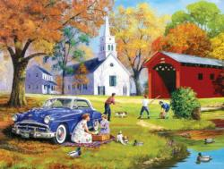 Family Time by the River Picnic Jigsaw Puzzle