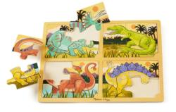4-in-1 Tray Puzzle - Dinosaur Dinosaurs Children's Puzzles