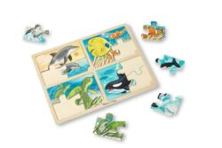 4-in-1 Tray Puzzle - Sea Life Fish Children's Puzzles