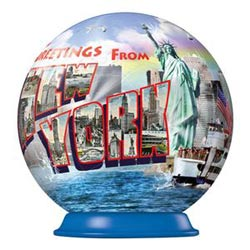 New York - Greetings from (Puzzleball) Landmarks / Monuments Jigsaw Puzzle