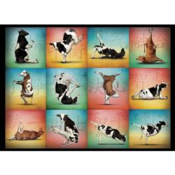 Cow Yoga Collage Jigsaw Puzzle