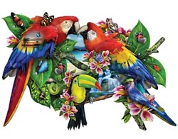Parrots Paradise Waterfalls Shaped Puzzle