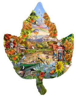 Autumn Shoreline Fall Shaped Puzzle