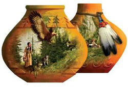 Indian Pots Wolves Shaped