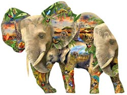 Ele-Phantastic Jungle Animals Shaped Puzzle